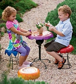 Weather-resistant Powder-coated Metal Flower Garden Stoolsbuy 3 Or More At $34.98 Each