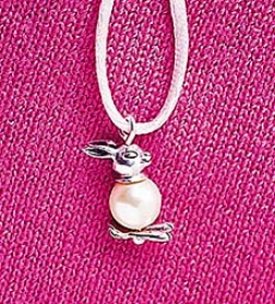 Whimsjcal Pearly Bunny And Sterling Silver Necklace Wigh Cord