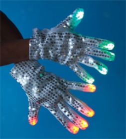 White Sequined Led Light-up Gloves