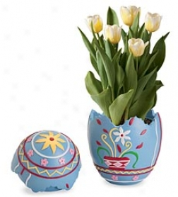 Yellow Tulips In Ukrainian Egg Planter
