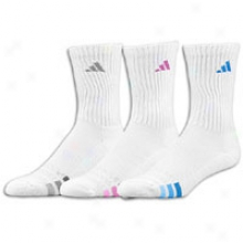 Adidas Cushioned 3 Pack Crew Sock - Womens - White/vital Grape/aluminum/magic Blue