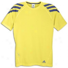 Adidas Iconic Fat Stripes S/s T-shirt - Mens - Prime Yellow/prime Ink Blue