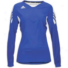 Adidas On Field L/s Jersey - Womens - Blue-collegiate Royal/white