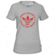 Adidas Originals Collegiate Trefoil T-shirt - Womens - Medium Grey Heather