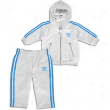 Adidas Originals Hooded Flock Track Suit - Toddlers - Grey-grey Heather/blue