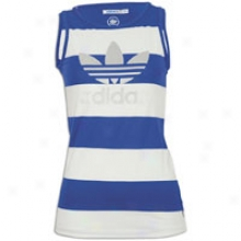 Adidas Originals Logo Stripe Tank - Womens - Power Blue/white/metallic Silver