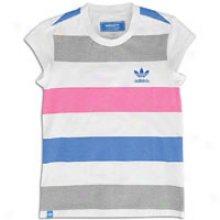 Adidas Originals Summer Striped S/s T-shirt - Big Kids - White/shift Grey/bluebired