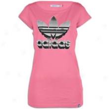 Adidas Originals Trefoil Metal S/s T-shirt - Womens - Super Pink