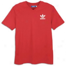 Adidas Originals V-neck Logo S/s T-shirt - Mebs - Light Scarlet