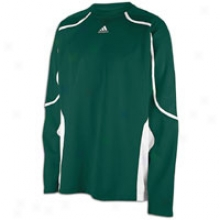 Adidas Pro Team L/s Shooting Shirt - Forest Green/white