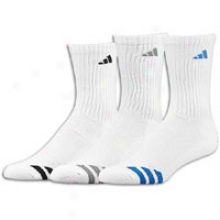 Adidas Stdiped Crew Sock 3 Pack - Big Kids - White/signal Blue/aluminum/black