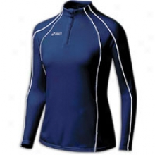 Asics Competition 1/2 Zip Jacket - Womens - Blue-navy/white