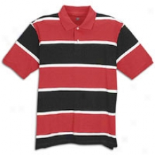 Basic Stripe Pique Polo - Mens - Black/white/red