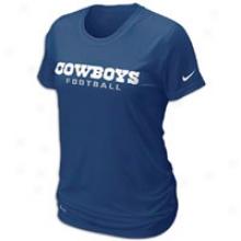 Cowboys Nike Dri-fit Legend Wordmark T-shirt - Womens - Navy