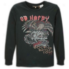 Ed Hardy Battle L/s Concert T-shirt - Mens - Dark Grey