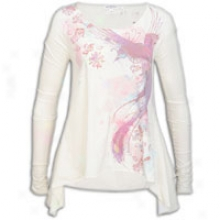 Ed Hardy Beautiful Bird Ls Draped Hem1ine T-shirt - Womens - Ivory