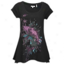 Ed Hardy Koi 2 Fishtail Circle Top - Womens - Black