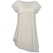 Ed Hardy Skull And Roses Asymmetrical Hemline T-shirt - Womens - Stone