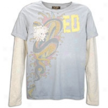 Ed Bold Cranium And Roses Canvas Appl Dbl Slvt-shir - Mens - Heather Grey