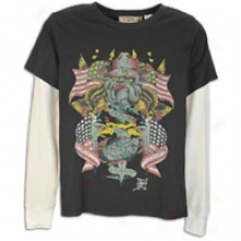 Ed Hardy Usmc Collage Double Sleeve T-shirt - Mens - Black