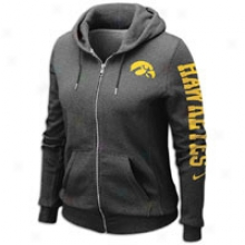 Iowa Nike College Rally Full-zip Hoodie - Womens - Murky Heather
