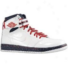 Jordan Aj 1 High Strap Premium - Mens - White/white/varsity Red/midnight Navy