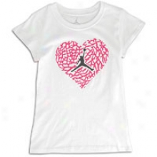 Jordan Elephant Heart T-shirt - Big Kids - White/pink