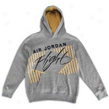 Jordan Flight Pullover Hoodie - Big Kids - Dark Heather Grey/black/gold