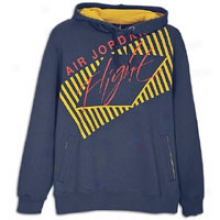 Jordan Flight Pullover Hoodie - Mens - Obsidian/yellow/red