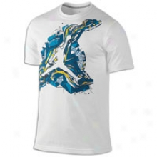Jordan Jumpman Abstract T-shirt - Mens - White/green Abyss/current Blue