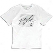 Jordan Retdo 4 Flight T-shirt - Big Kids - White/wolf Grey/obbssidian