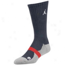 Jordan True Crew Sock - Mens - Obsidian/white