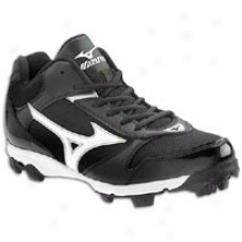 Mizuno 9-xpike Franchise 6 Mid - Big Kids - Black/white