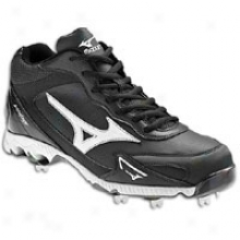 Mizuno 9-spike Vintage G6 Mid - Mens - Black/white