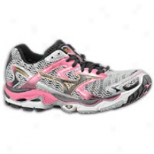 Mizuno Wave Nirvana 8 - Womens - White/anthracite/hot Ponk