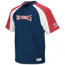 Nationals Majestic Crusader V-neck Jersey - Mens - Navy