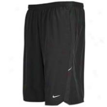"Nike 9"" Stretch Woven Running Short - Mens - Black/reflective Silver"