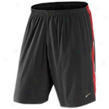 "Nike 9"" Stretch Woven Running Short - Mens - Black/unibersity Red/white/reflective Gentle"