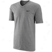 Nike Ath Dept Swoosh V-neck T-shirt - Mens - Dark Grey Heather/dark Grey Heather