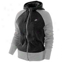 Nike Aw77 Full Zip Sweater Knit Hoodie - Womens - Blavk Heather/dark Grey Heather/cool Grey
