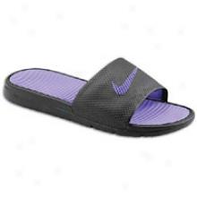 Nike Benassi Solarsoft Slide - Mens - Black/pure Purple