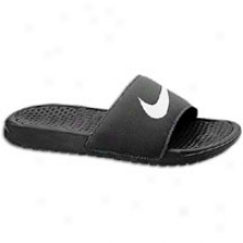 Nike Benassi Swoosh Slide - Mens - Black/white