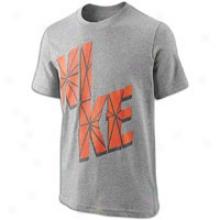 Nike Cracked City ~ S/s T-shirt - Big Kids - Grey Heather/team Orange