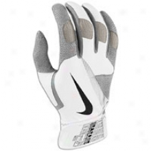 Nike Diamond Elite Pro Batting Gloves - Mens - White/pewter