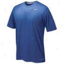 Nike Dri Fit S/s Poly Top - Mens - Royal/metallic Silver