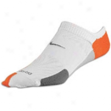 Nike Elite Extend No Show Cushioned Sock - Mens - White/deep Orange/flint Grey