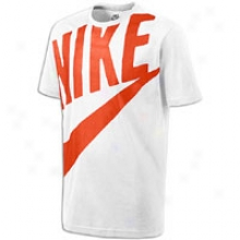Nike Exploded Futura S/s T-shirt - Mens - White/safety Orange
