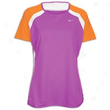 Nike Fast Pace S/s Baselayer T-shirt - Womens - Magenta/vivid Orange/white