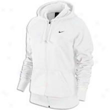 Nike F/z Poly Fleece Hoodie - Womens - White/black