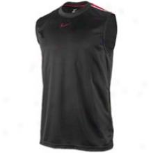 Nike Hustle Dri-fit S/l Top - Mens - Black/varsity Red